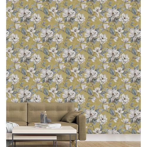 Papel pintado tnt floral magnolia w-06 amarillo para 6,80 m2
