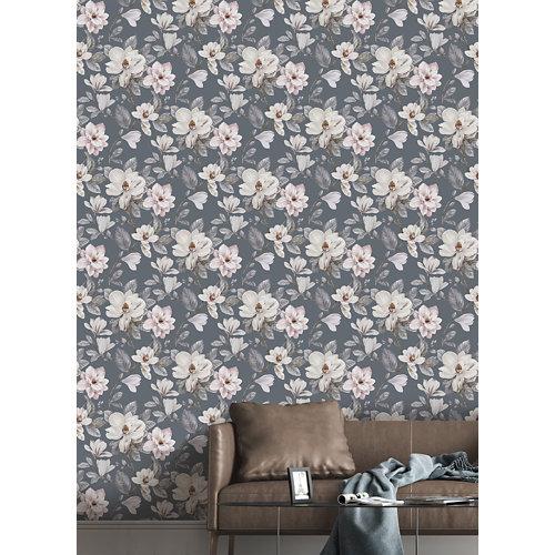Papel pintado tnt floral magnolia w-08 gris para 6,80 m2