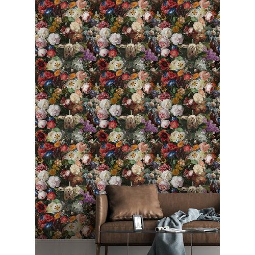 Papel pintado tnt floral lea w-50 negro para 6,80 m2