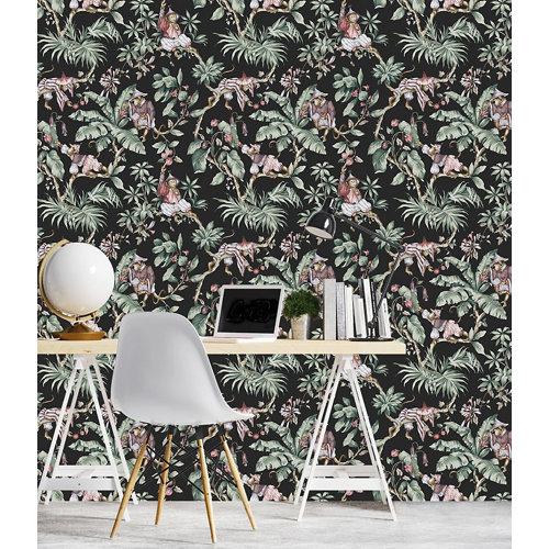 Papel pintado tnt tropical guarana w-20 negro para 6,8 m2