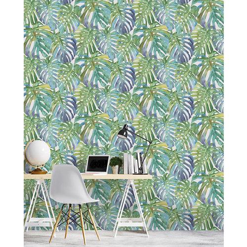 Papel pintado tnt tropical saphira w-03 azul para 6,8 m2