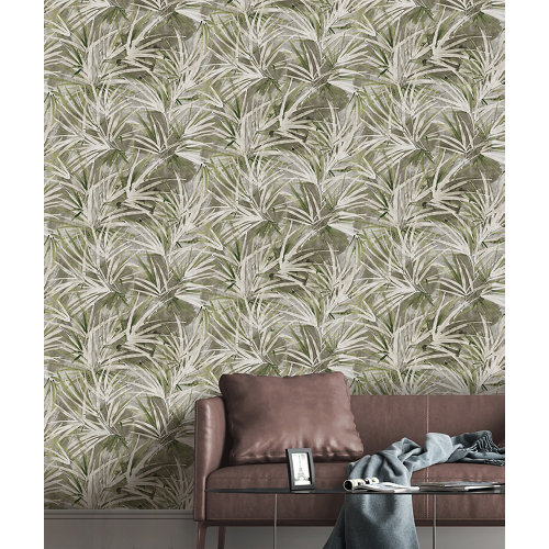 Papel pintado tnt tropical palms w-10 gris para 6,08 m2
