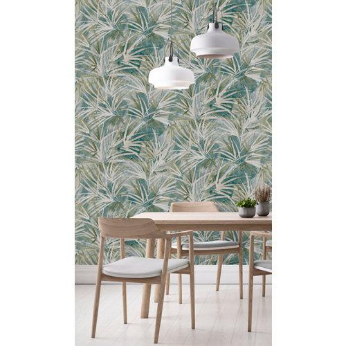Papel pintado tnt tropical palms w-20 verde para 6,08 m2