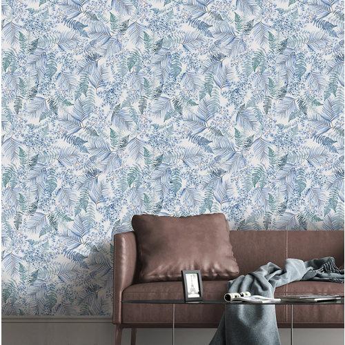 Papel pintado tnt tropical freya w-03 azul para 6,08 m2