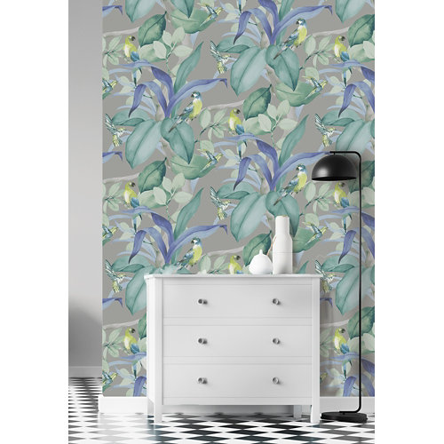 Papel pintado tnt tropical birds w-05 gris para 6,08 m2