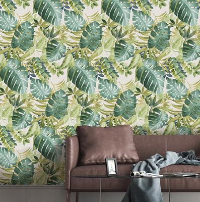 Papel pintado tnt hojas tropical w-22 verde para 6,08 m2