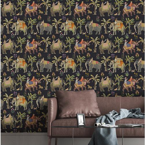 Papel pintado animales jaipur negro para 5,3 m²