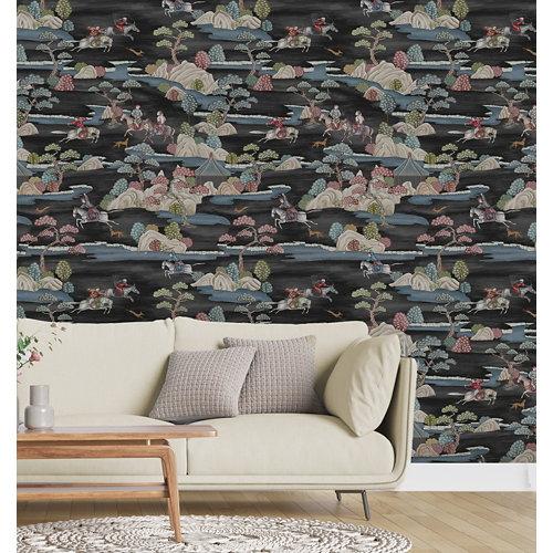 Papel pintado tnt asian sakai w-50 negro para 6,08 m2