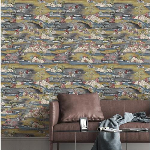 Papel pintado tnt asian sakai w-60 amarillo para 6,08 m2