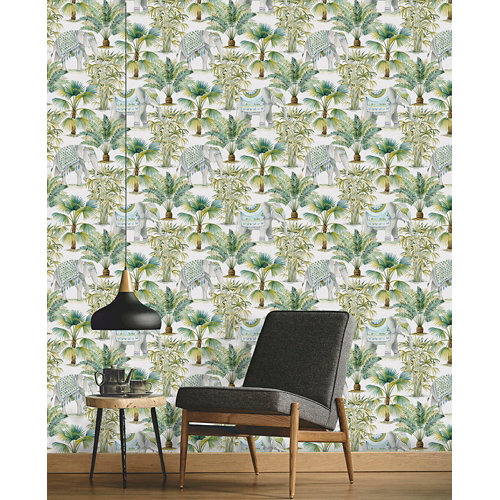 Papel pintado tnt asian jaidor w-02 verde para 6,08 m2