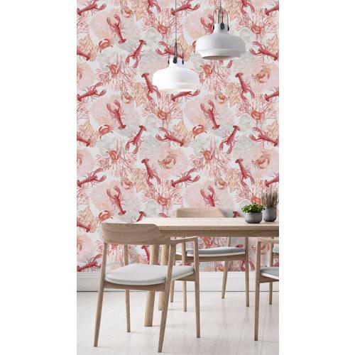 Papel pintado tnt marino egeo w-04 rojo para 6,08 m2