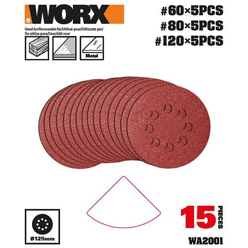 Pack 15 hojas lijadora excentrica multilijadora 820 worx
