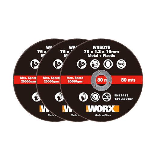 3 discos corte metal/plástico miniamoladora 76mm worx