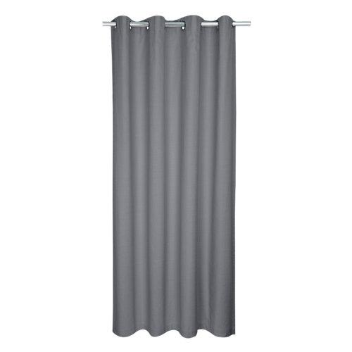 Cortina leya con motivo liso gris de 280 x 140 cm