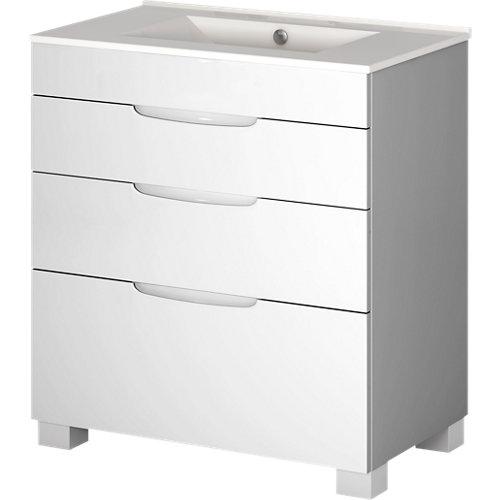 Mueble de baño asimétrico blanco 100 x 45 cm
