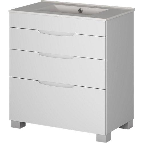 Mueble baño asimétrico blanco roto 100 x 45 cm