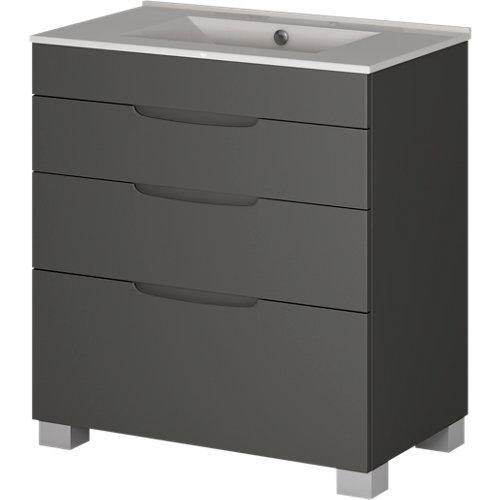 Mueble de baño asimétrico grafito 100 x 45 cm