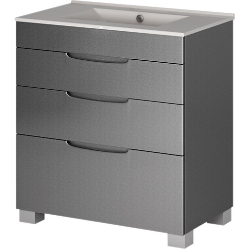 Mueble de baño asimétrico gris metalizado 70 x 45 cm