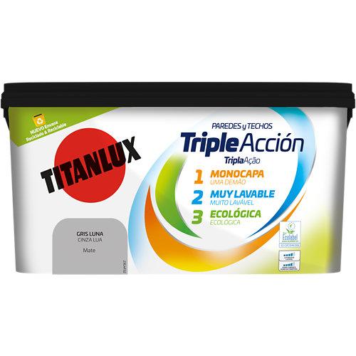 Pintura triple acción titanlux 4l gris luna