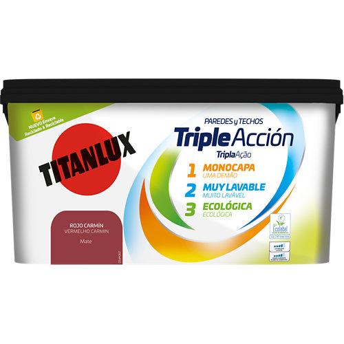 Pintura triple acción titanlux 4l rojo carmín