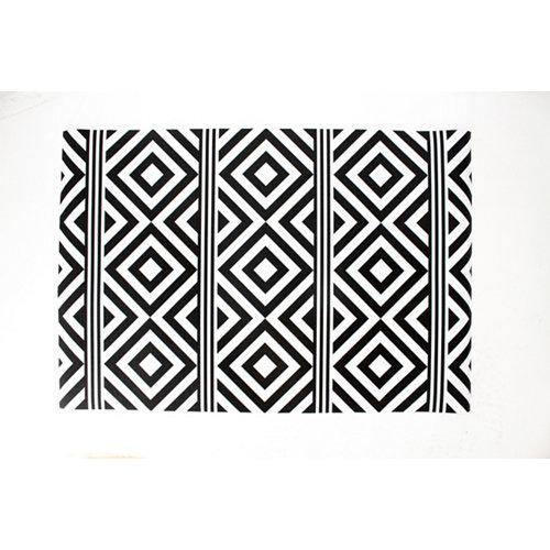 Alfombra de interior pvc hakuna rayas y rombos negra 230 x 160cm