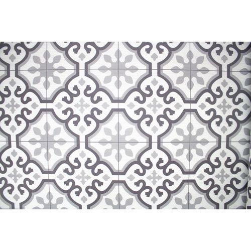 Alfombra de interior y de exterior color gris geométrico pvc 180cm x 120cm