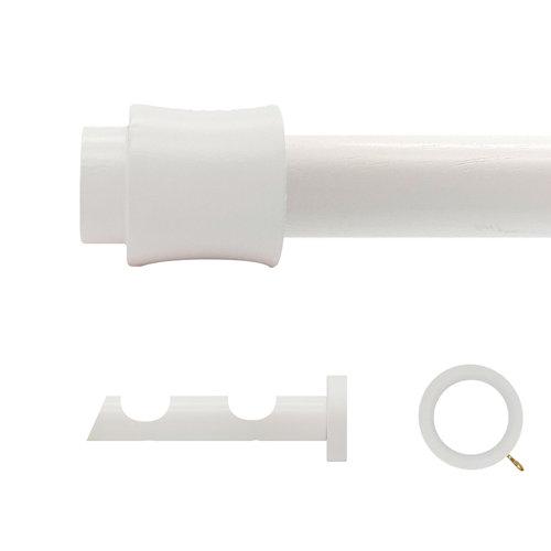 Kit 2 barras madera ø 20mm cata blanco 200cm c/anillas pared