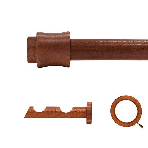 Kit 2 barras madera ø 20mm cata cerezo 150cm c/anillas pared