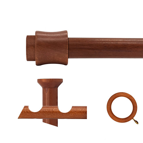 Kit 2 barras madera ø 20mm cata cerezo 150cm c/anillas techo