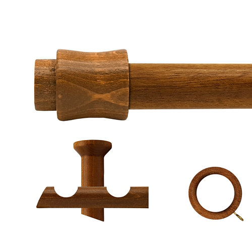 Kit 2 barras madera ø 20mm cata roble 250cm c/anillas techo