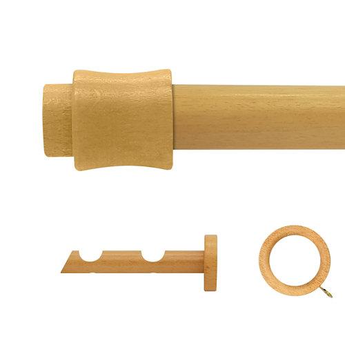 Kit 2 barras madera ø 20mm cata pino 200cm c/anillas pared