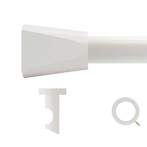 Kit barra madera ø 20mm meta blanco 150cm c/anillas techo