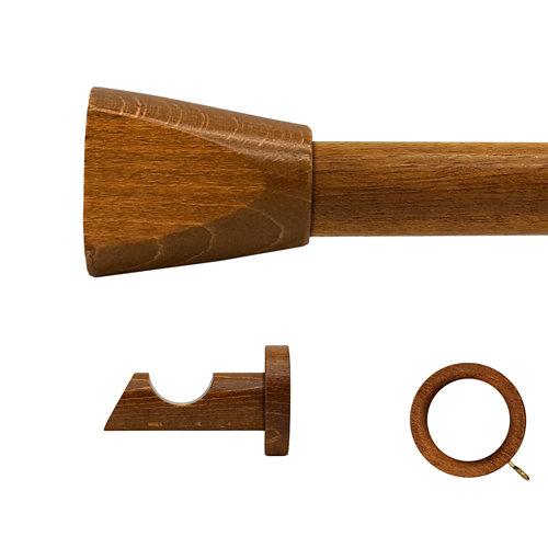 Kit barra madera ø 20mm meta roble 150cm c/anillas pared