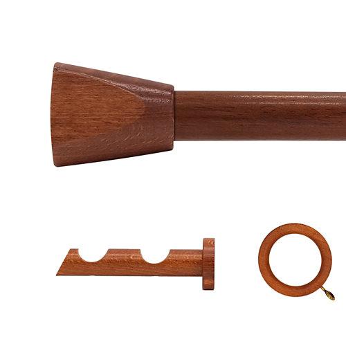 Kit 2 barras madera ø 28mm meta cerezo 150cm c/anillas pared
