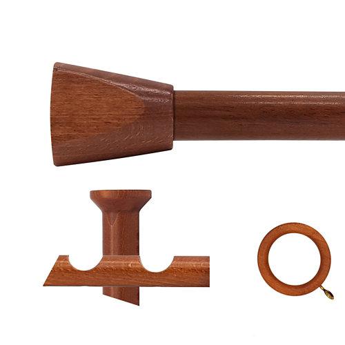 Kit 2 barras madera ø 28mm meta cerezo 150cm c/anillas techo
