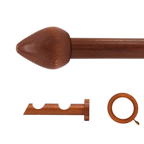 Kit 2 barras madera ø 20mm seta cerezo 150cm c/anillas pared