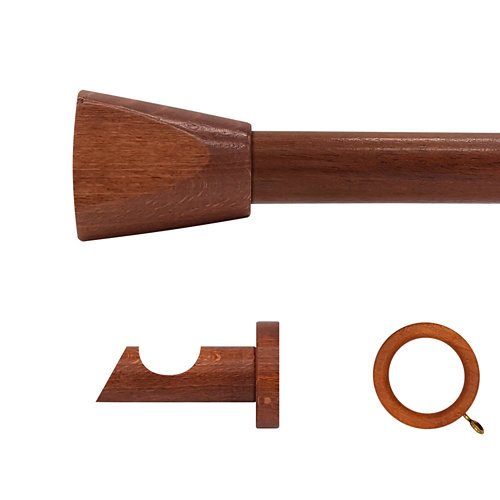 Kit barra madera ø 28mm meta cerezo 250cm c/anillas pared