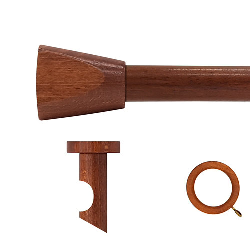 Kit barra madera ø 28mm meta cerezo 300cm c/anillas techo