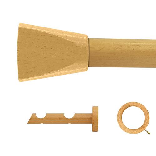 Kit 2 barras madera ø 28mm meta pino 150cm c/anillas pared
