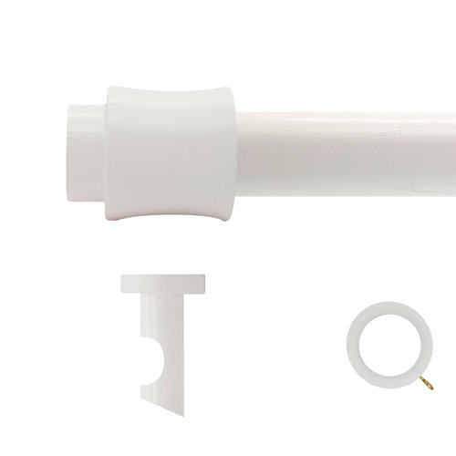Kit barra madera ø 28mm cata blanco 200cm c/anillas techo