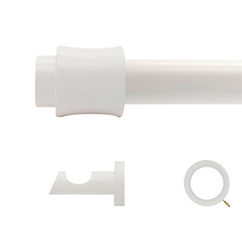 Kit barra madera ø 28mm cata blanco 300cm c/anillas pared