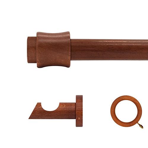 Kit barra madera ø 28mm cata cerezo 200cm c/anillas pared