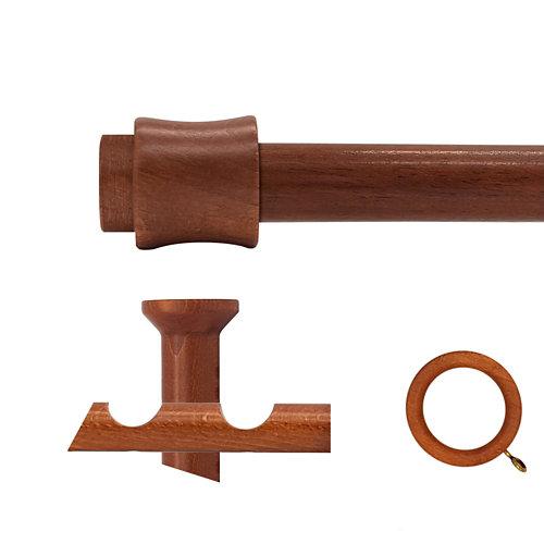 Kit 2 barras madera ø 28mm cata cerezo 250cm c/anillas techo