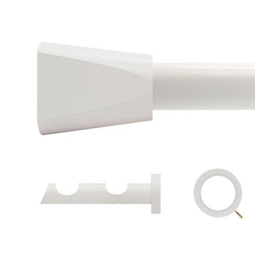 Kit 2 barras madera ø 28mm meta blanco 250cm c/anillas pared