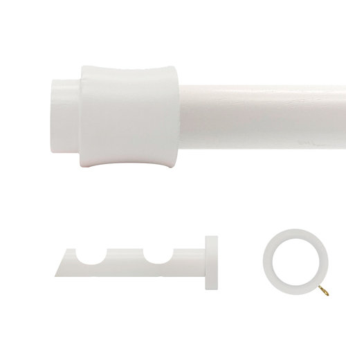 Kit 2 barras madera ø 28mm cata blanco 200cm c/anillas pared