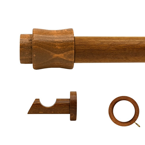 Kit barra madera ø 28mm cata roble 150cm c/anillas pared