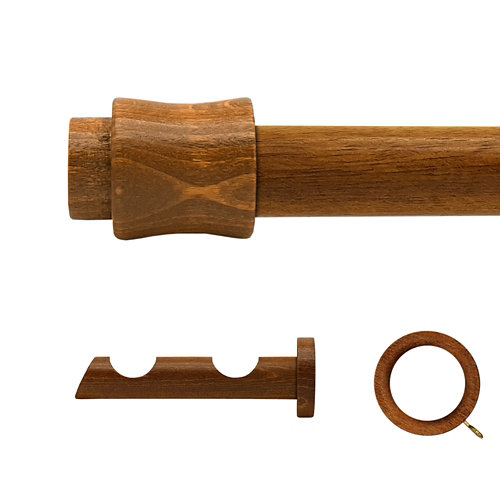 Kit 2 barras madera ø 28mm cata roble 300cm c/anillas pared
