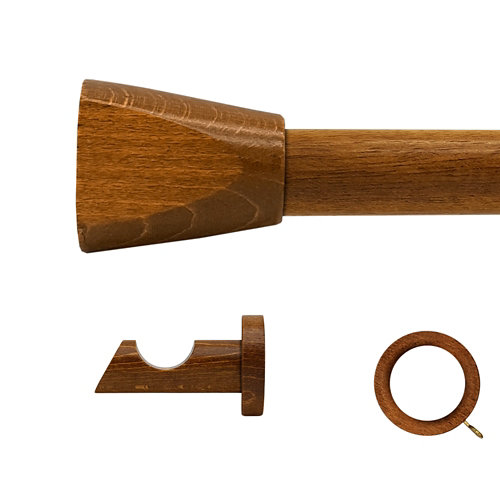 Kit barra madera ø 28mm meta roble 250cm c/anillas pared