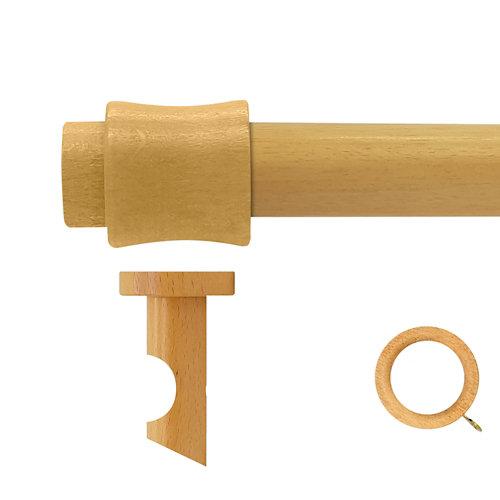 Kit barra madera ø 28mm cata pino 150cm c/anillas techo