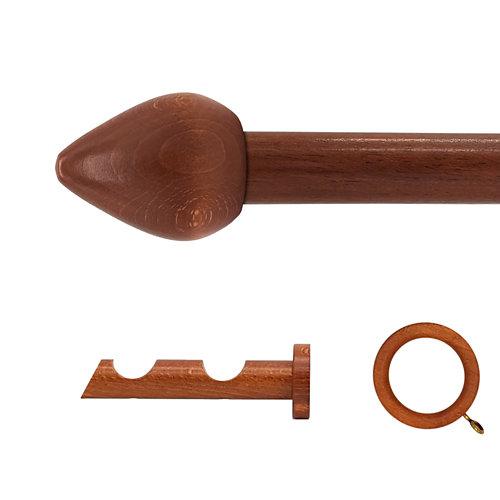 Kit 2 barras madera ø 28mm seta cerezo 150cm c/anillas pared